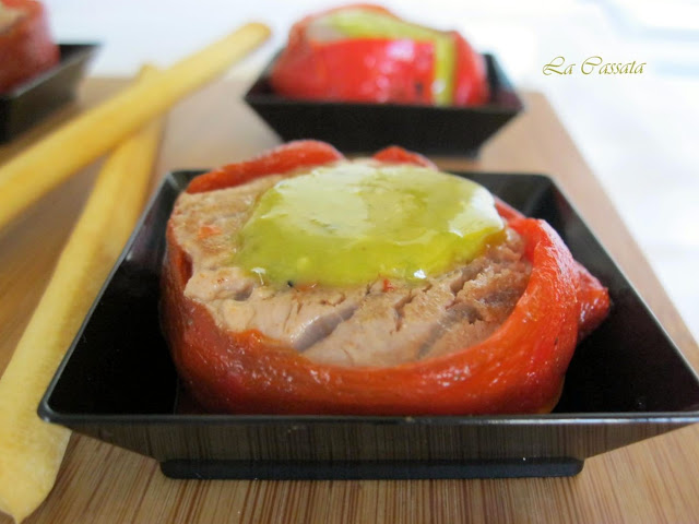 Appetizer di tonno, peperoni e pesto di pistacchi - La Cassata Celiaca