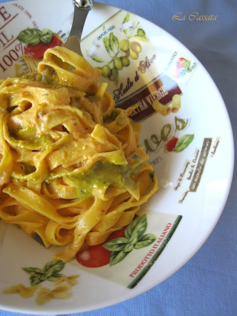 Fettuccine à la crème de poivrons sans gluten - La Cassata Celiaca