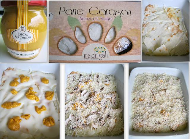 Lasagne di pane carasau con besciamella, funghi e salsa di zucca senza glutine