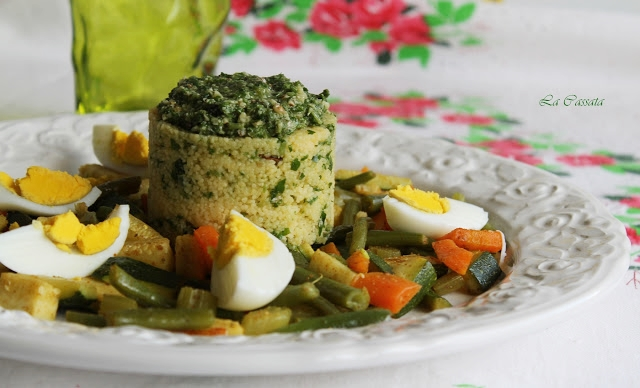 Couscous con verdure e pesto di sedano e noci senza glutine - La Cassata Celiaca