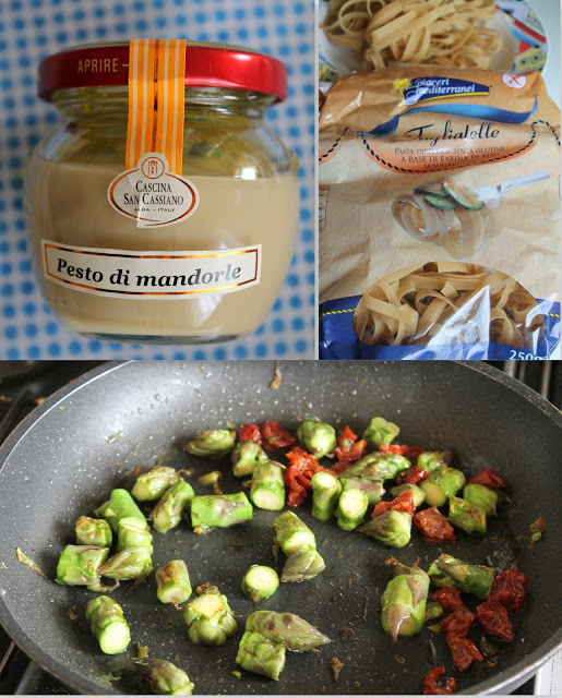 Tagliatelle con asparagi, pesto di mandorle e pomodori secchi (anche senza glutine)