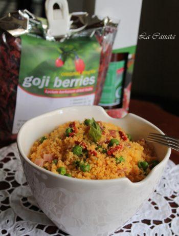 Taboulé sans gluten avec speck, petits pois et baies de goji - La Cassata Celiaca
