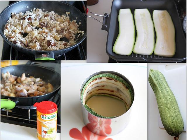 Rotolini di zucchine grigliate con risotto tiepido ai funghi - La Cassata Celiaca