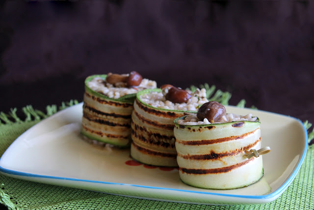 Rouleaux de courgette avec risotto aux champignons - La Cassata Celiaca