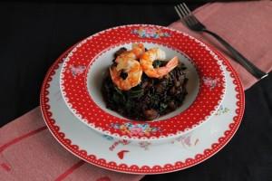 Riz noir, courge, crevettes et légumes - La Cassata Celiaca