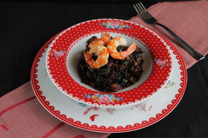 Riso nero con zucca, amarelli e gamberi - La Cassata Celiaca