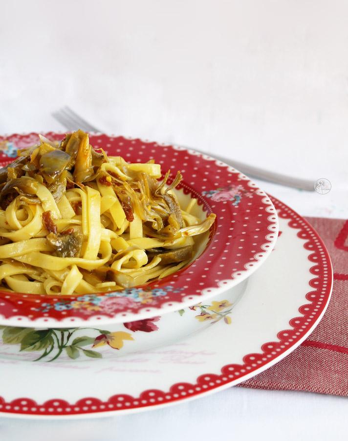 Tagliatelles aux artichauts, bacon et safran - La Cassata Celiaca