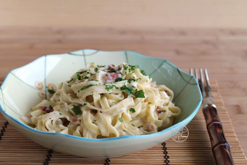 Tagliatelle senza glutine con speck e panna di Michele Torazza - La Cassata Celiaca