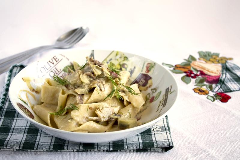 Pappardelles à la carbonara d'artichauts, sans gluten - La Cassata Celiaca