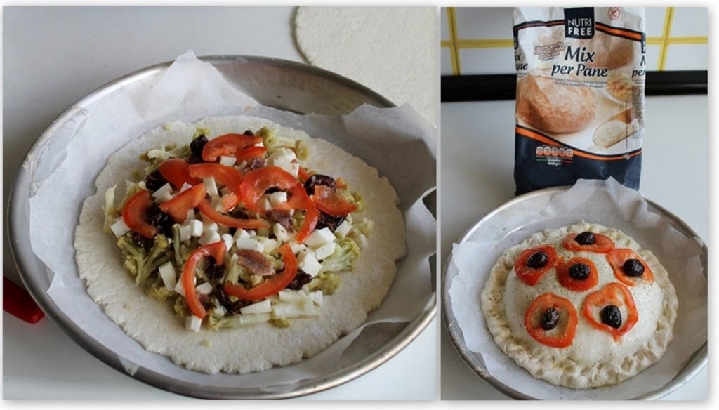 Pizza farcita con broccoli e formaggio di capra, senza glutine nè proteine del latte vaccino