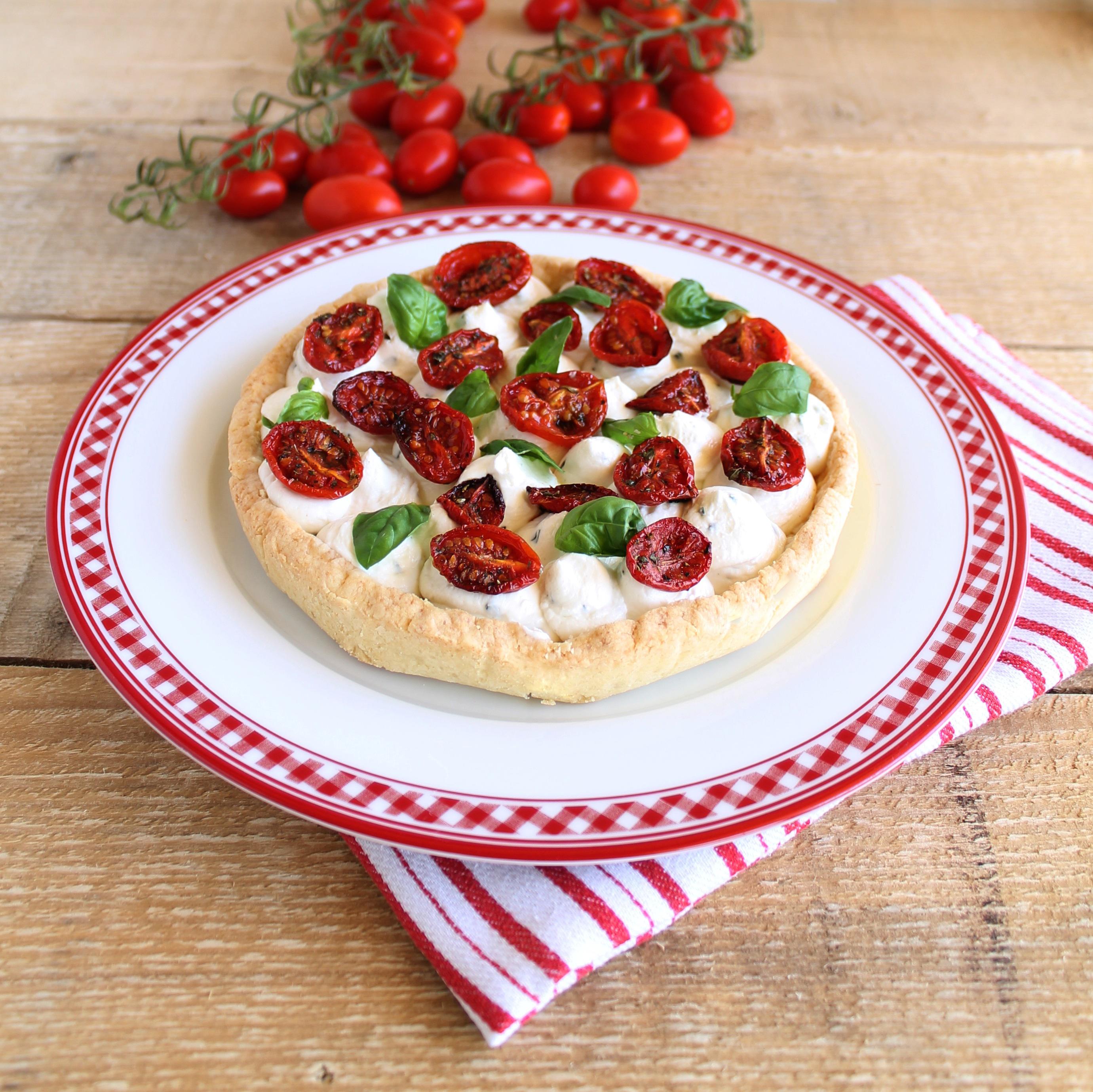 Crostata con formaggio e pomodorini senza glutine - La cassata celiaca