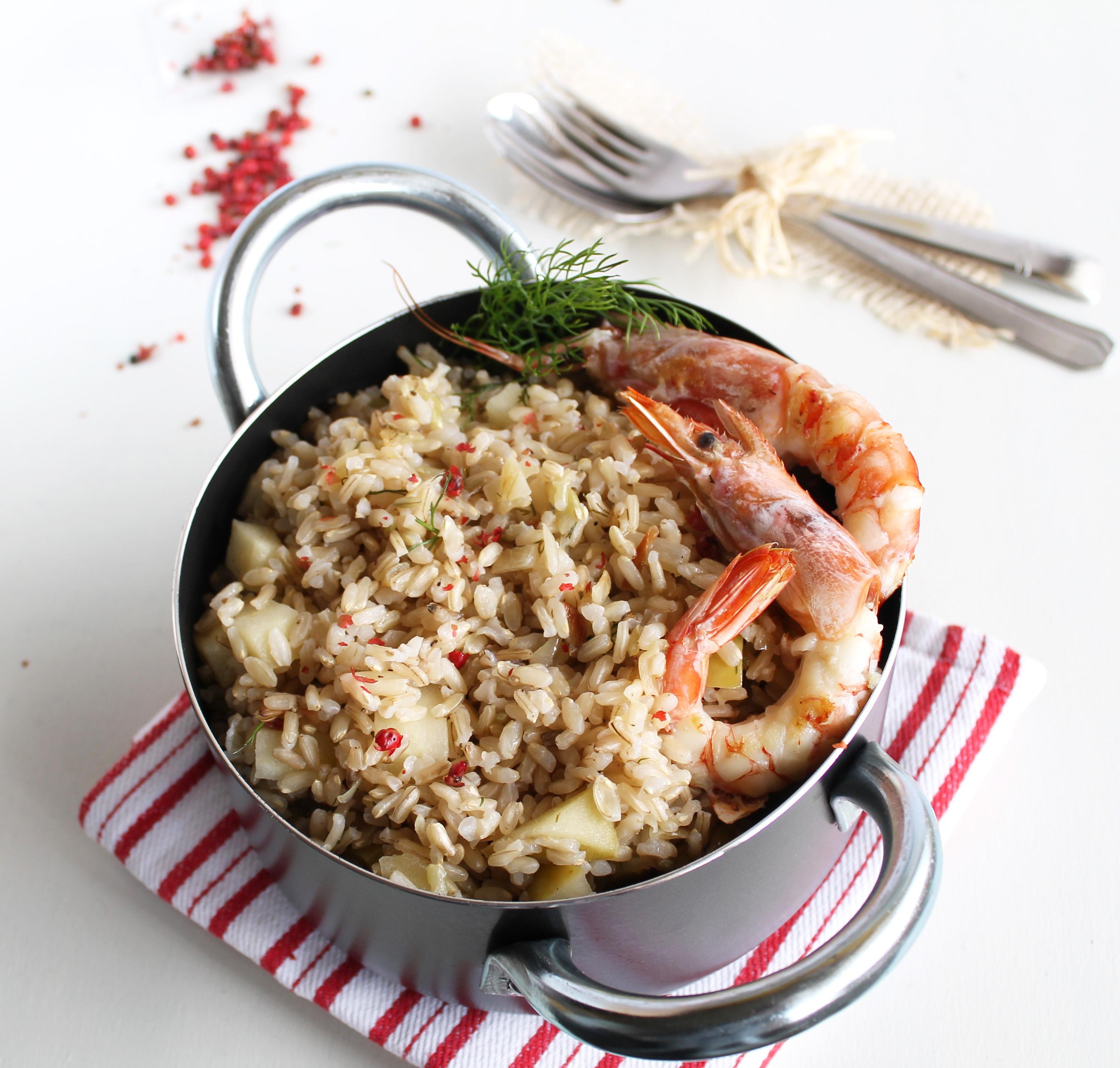 Risotto avec pommes et crevettes sans gluten- La Cassata Celiaca