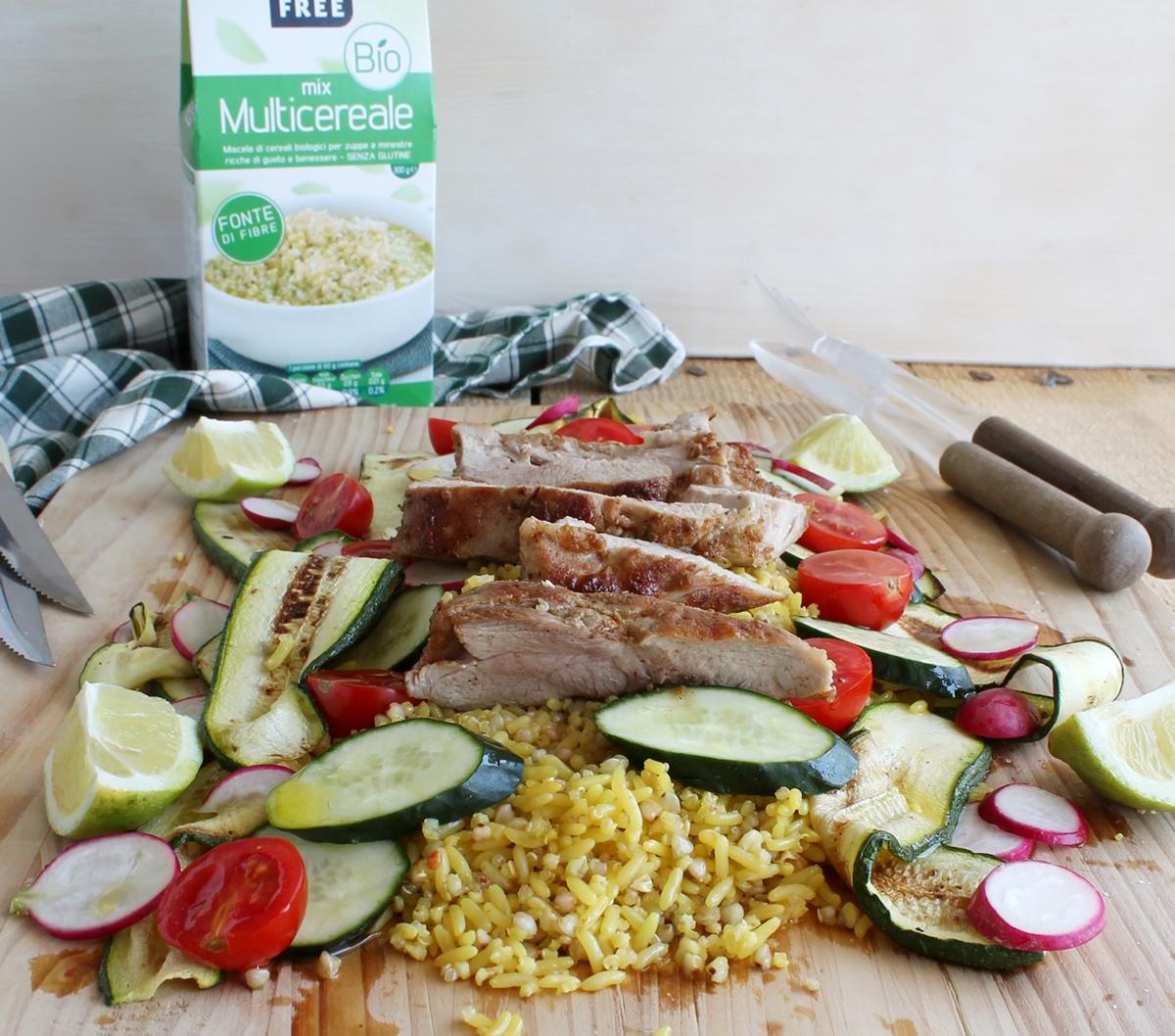 Mix Multicereale con arrosto di tacchino e verdure - La Cassata Celiaca