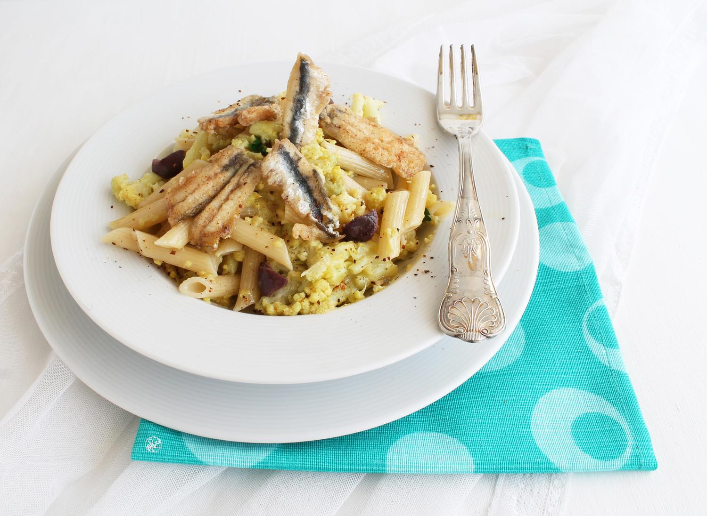 Pennettes avec choufleur et anchois panés - La Cassata Celiaca