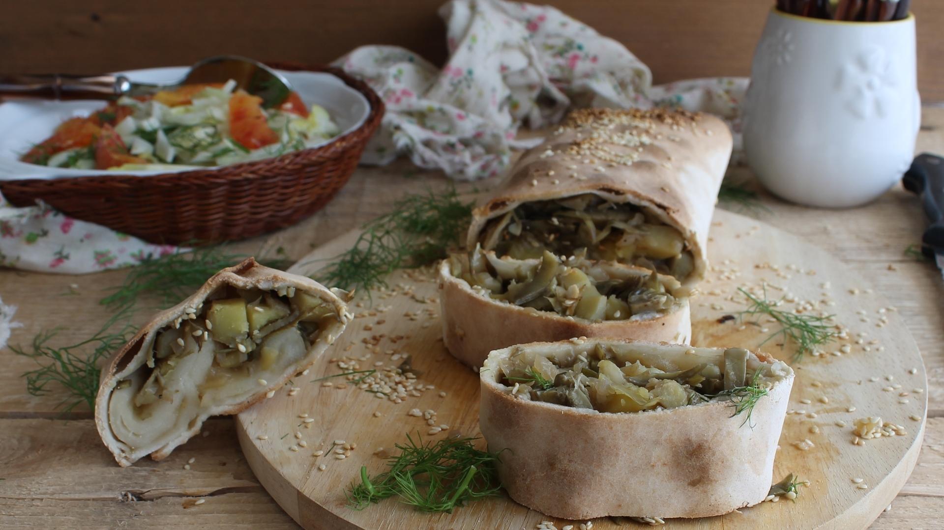 Strudel con carciofi e patate senza glutine - La Cassata Celiaca
