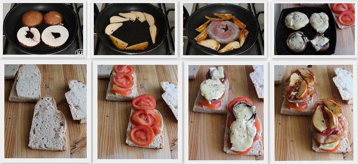 Sandwich avec champignons, poires et bacon, sans gluten - La Cassata