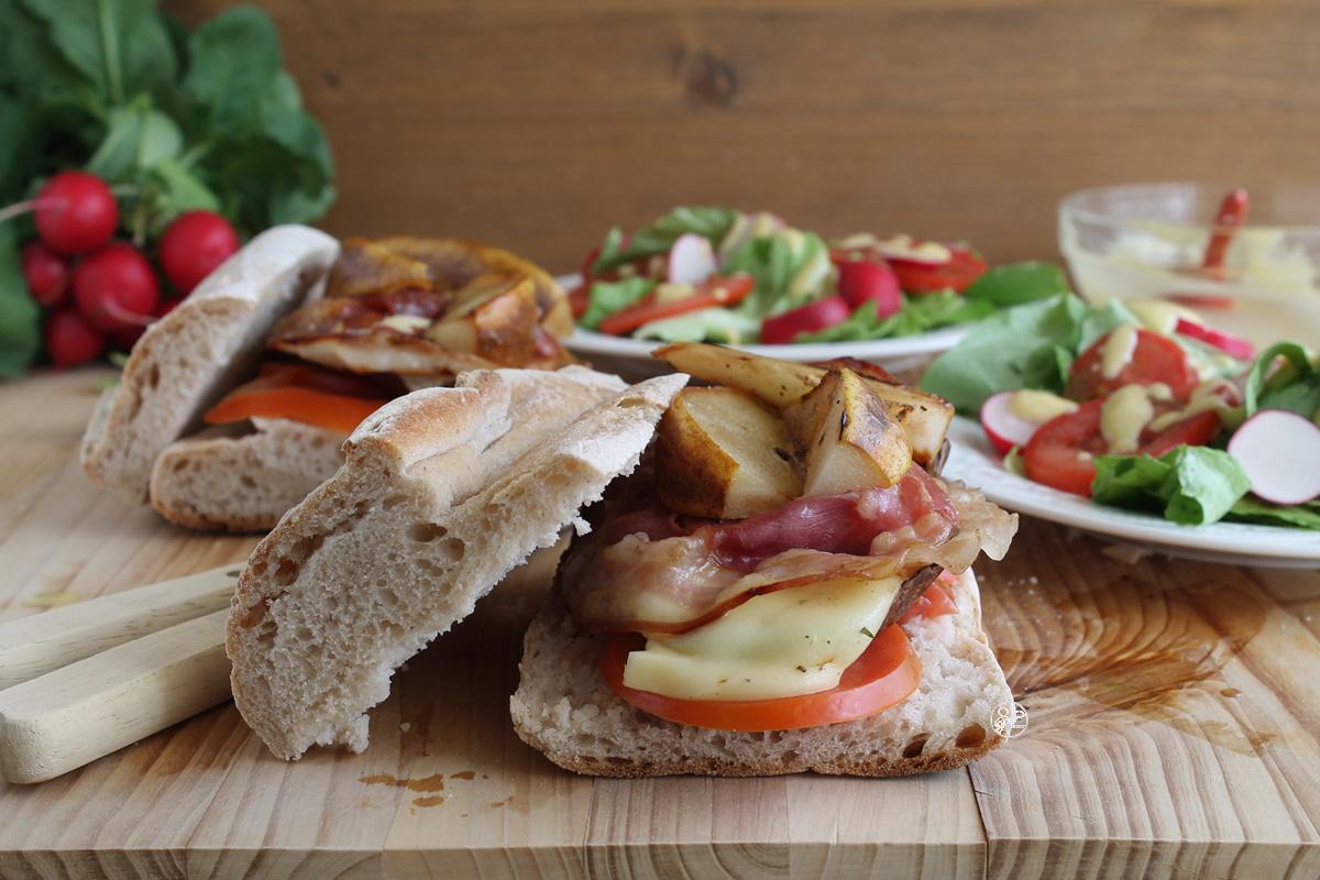 Sandwich avec champignons, poires et bacon, sans gluten - La Cassata Celiaca