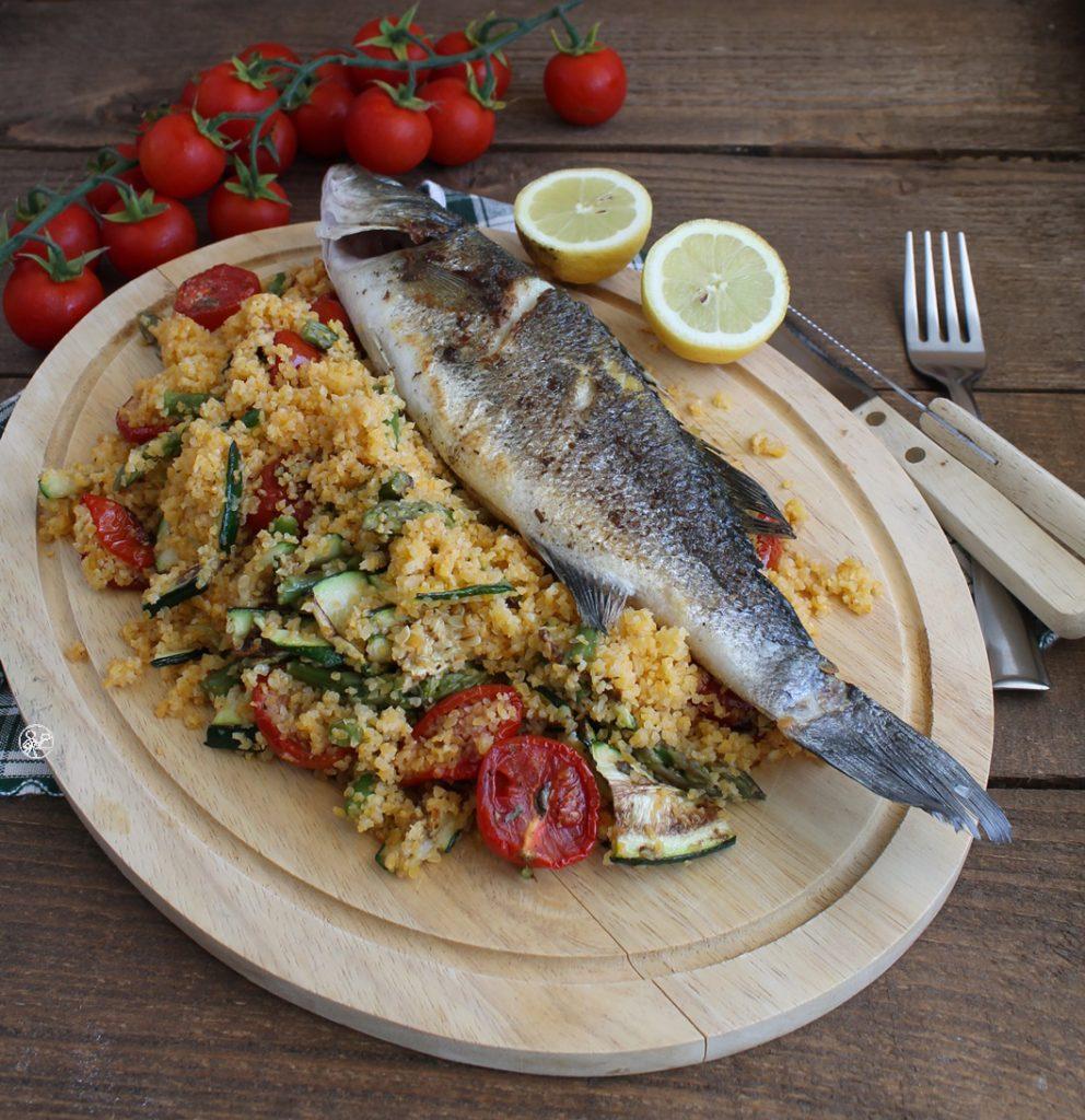 Bar rôti et cous cous aux légumes sans gluten - La Cassata Celiaca