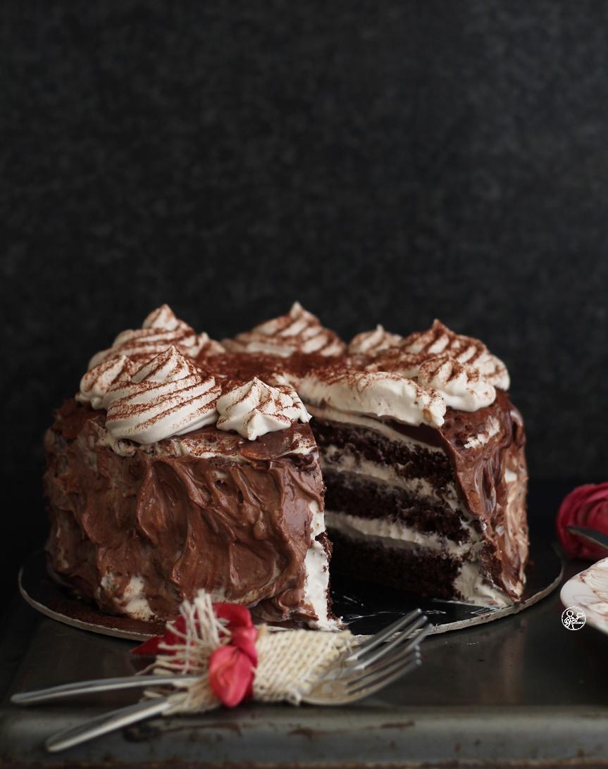 Cake au cacao et camy cream au café - La Cassata Celiaca