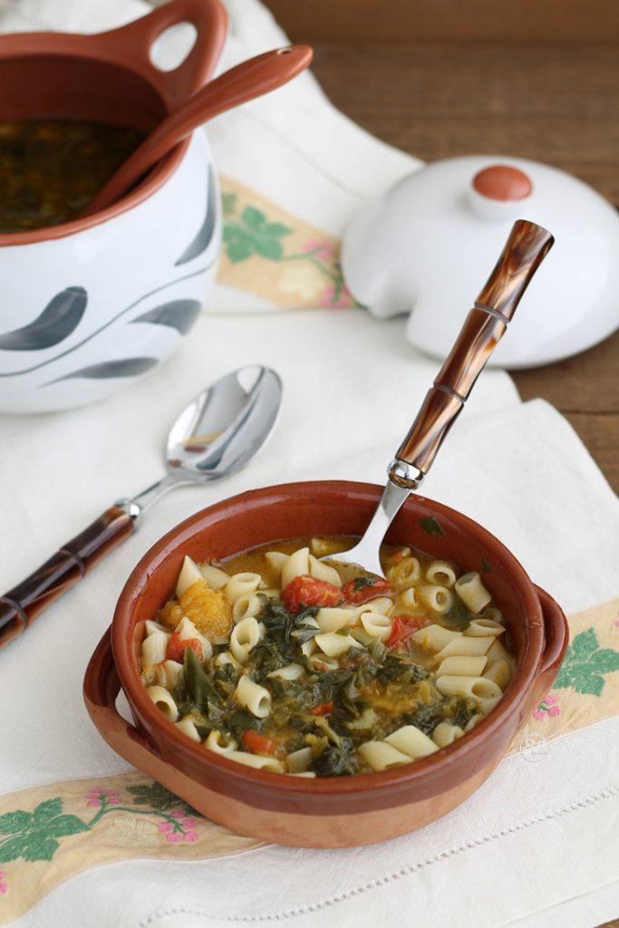 Soupe de potiron et blettes avec les pâtes sans gluten - La Cassata Celiaca