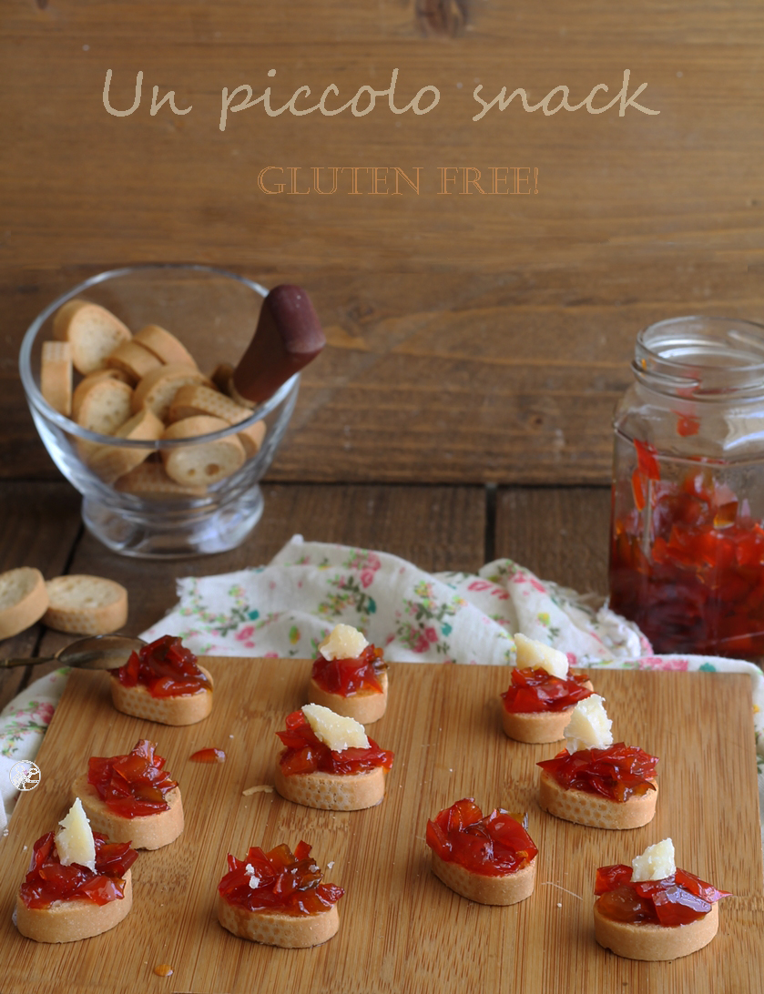 Crostini senza glutine con confettura di peperoni - La Cassata Celiaca