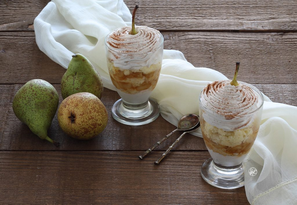 Verrines de crème à la cannelle et poires sans gluten - La Cassata Celiaca