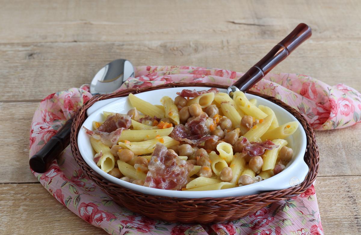 Pâtes avec pois chiches et bacon, sans gluten - La Cassata Celiaca