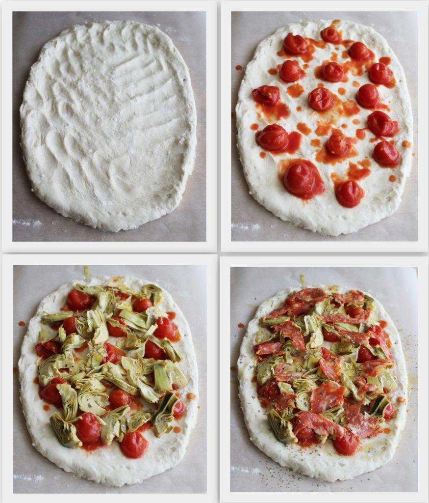 Pizza sans gluten (et sans mix) avec artichauts et saucisson - La Cassata Celiaca