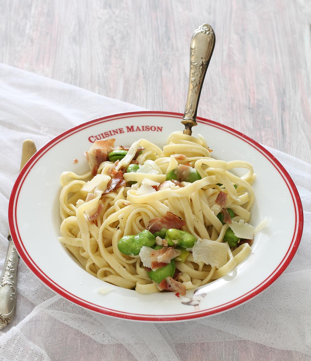 Tagliatelles sans gluten aux fèves vertes et bacon - La Cassata Celiaca