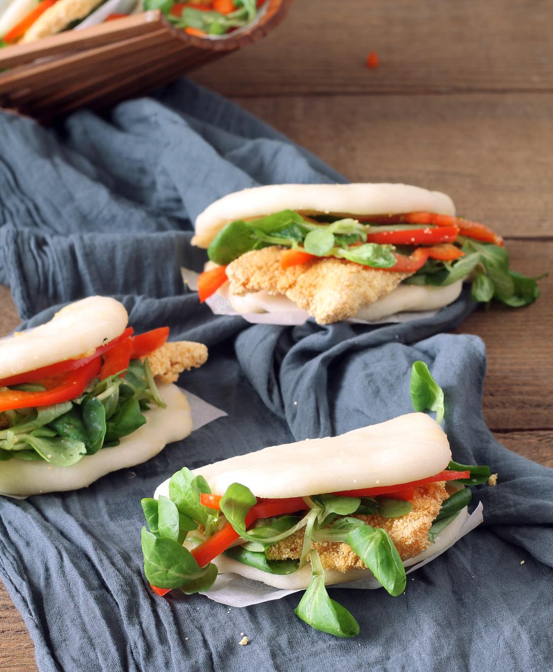 Bao sandwich senza glutine con pollo e peperoni - La Cassata Celiaca