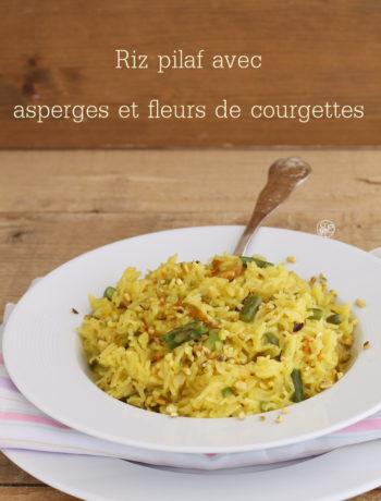 Riz pilaf aux asperges et fleures de courgettes - La Cassata Celiaca