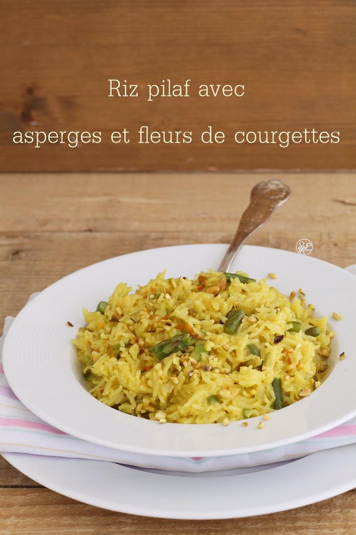 Riz pilaf aux asperges et fleurs de courgettes - La Cassata Celiaca
