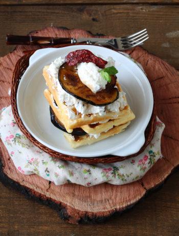 Waffel sans gluten avec ricotta et aubergines- La Cassata Celiaca