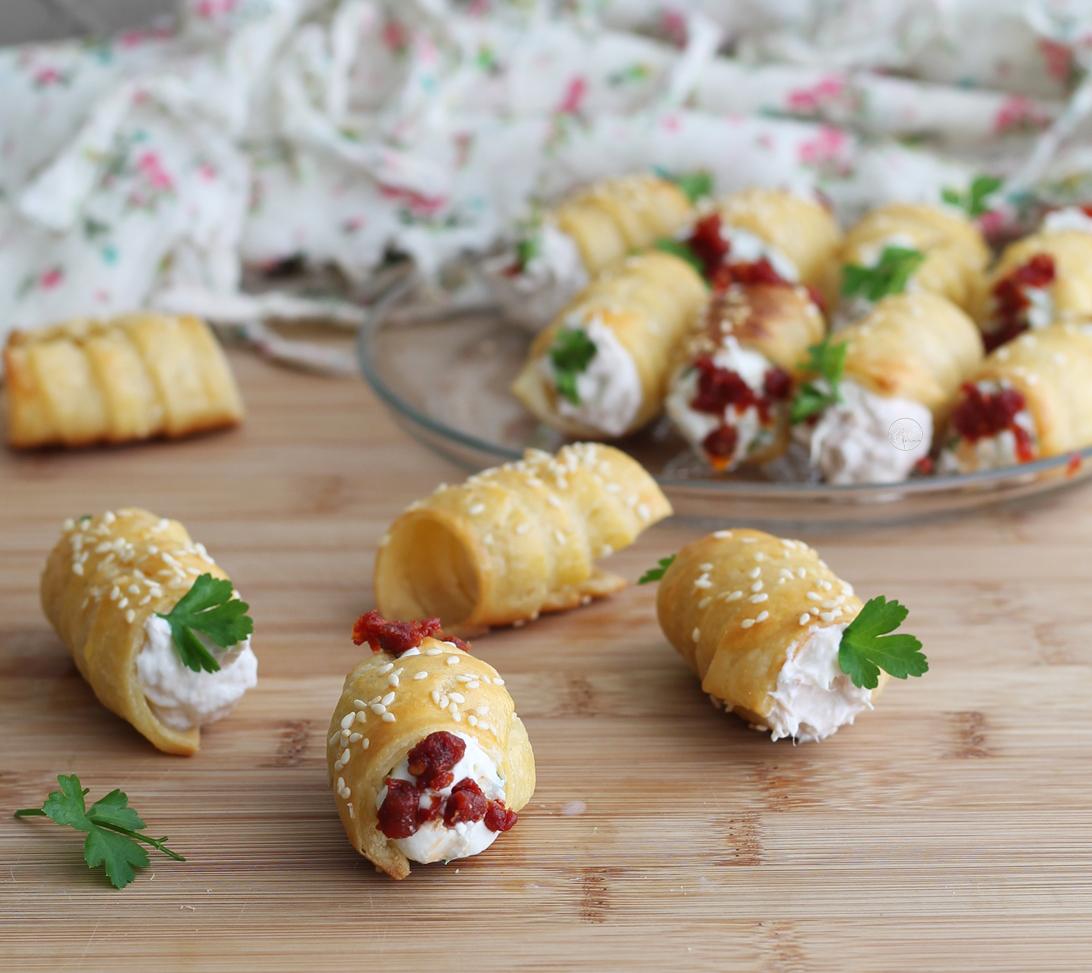 Rouleaux feuilletés sans gluten pour apéritif - La Cassata Celiaca