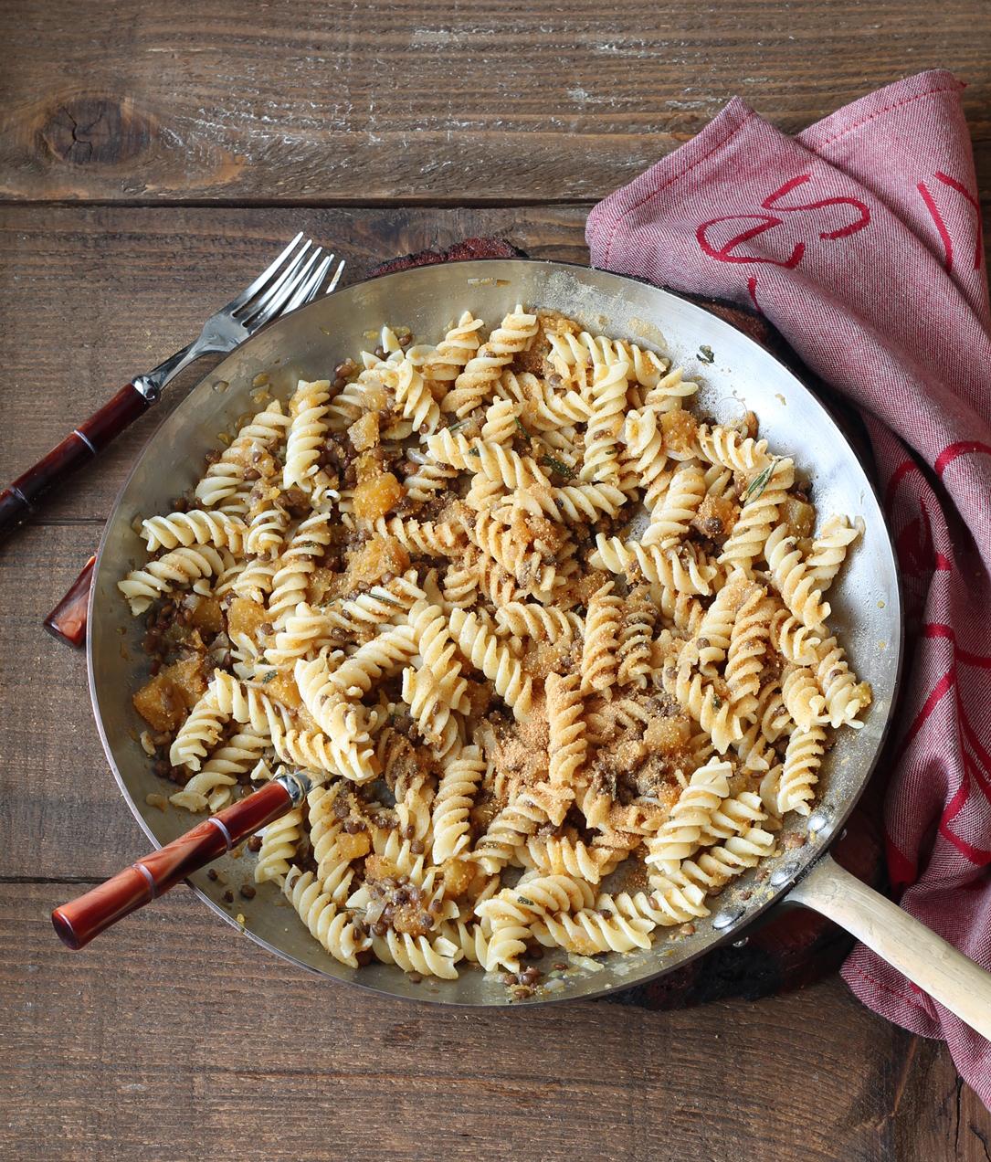 Fusilli senza glutine con lenticchie e zucca - La Cassata Celiaca