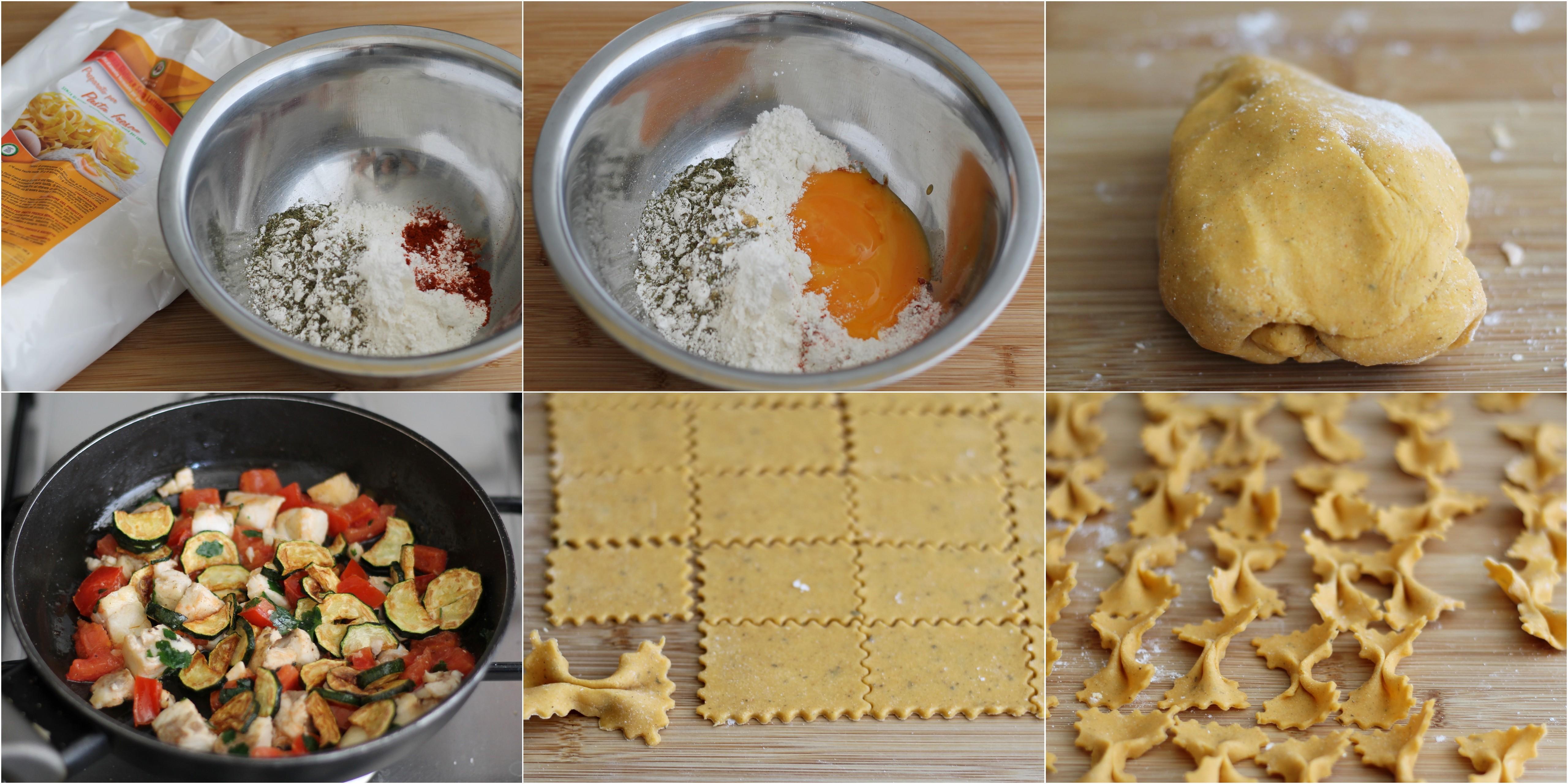 Pasta fresca senza glutine alla paprika con spigola e zucchine - La Cassata Celiaca