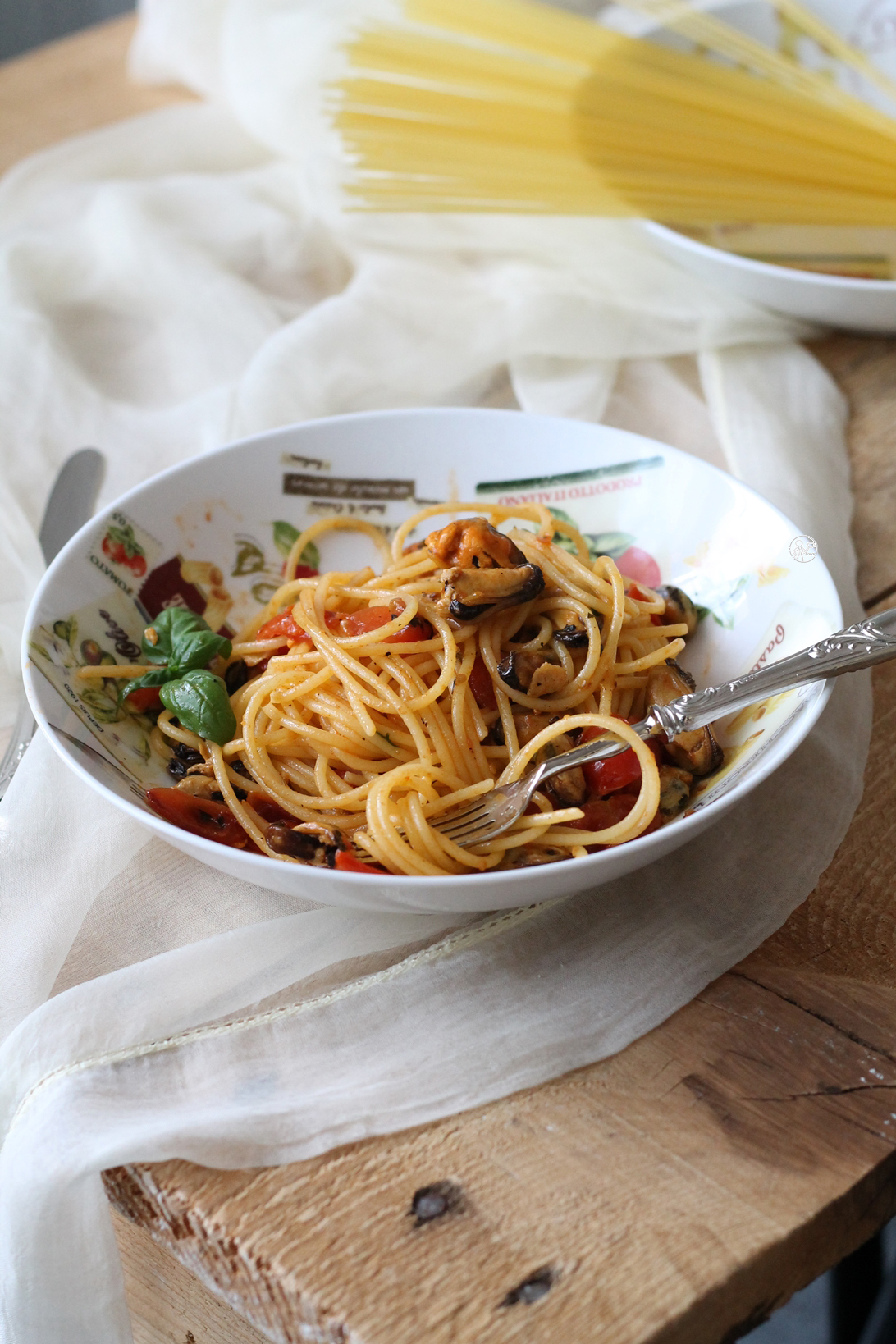 Spaghetti con cozze e pomodorini - La Cassata Celiaca