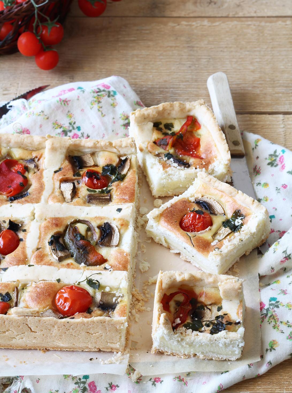 Torta salata senza glutine con peperoni e funghi - La Cassata Celiaca