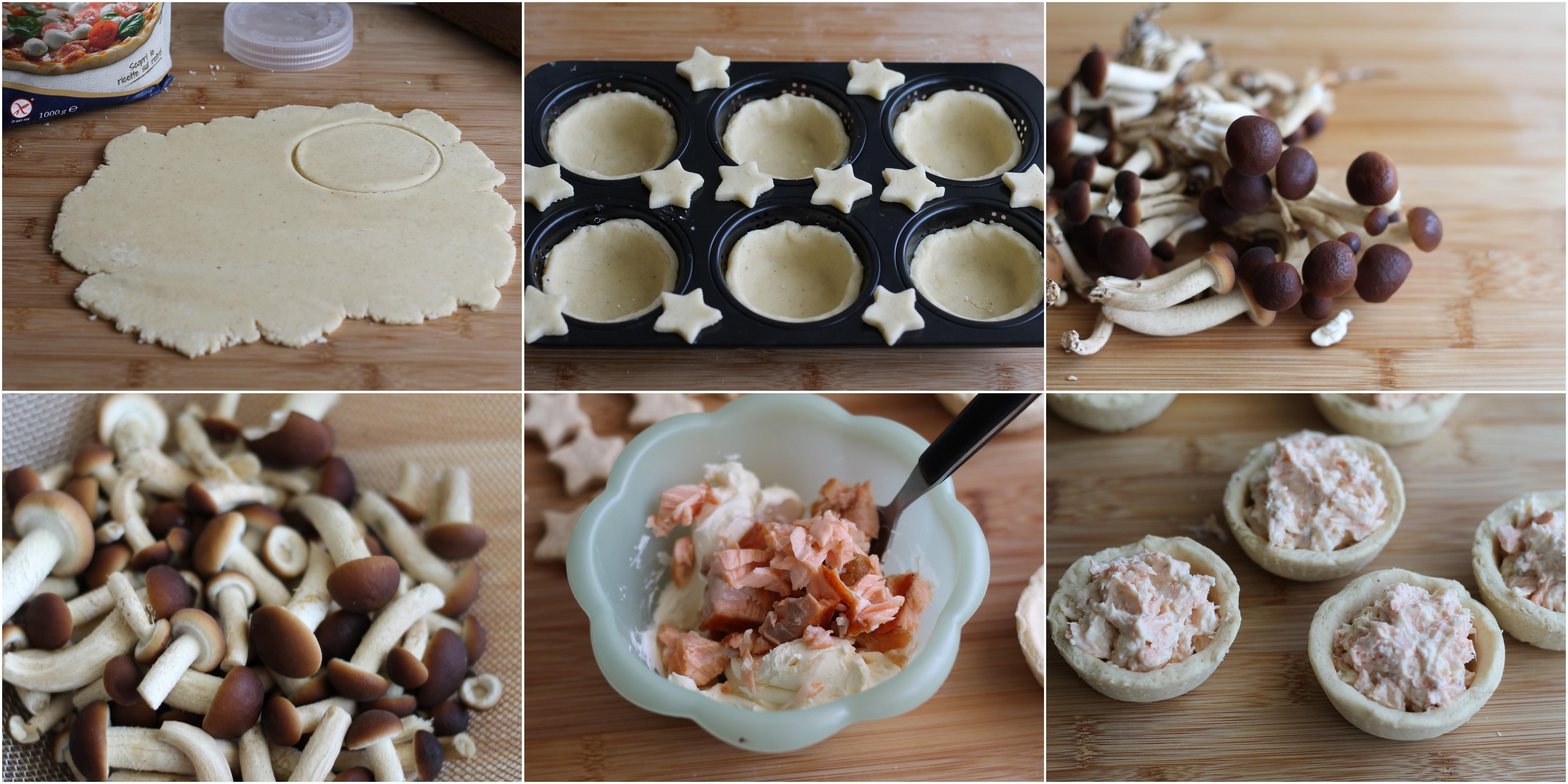 Croustades senza glutine con salmone e pioppini - La Cassata Celiaca