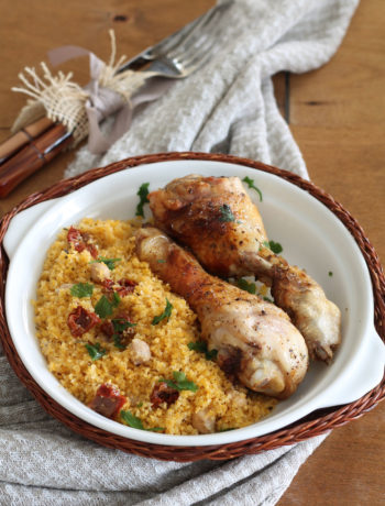 Cous cous sans gluten avec pois chiches et poulet au tabasco- La Cassata Celiaca