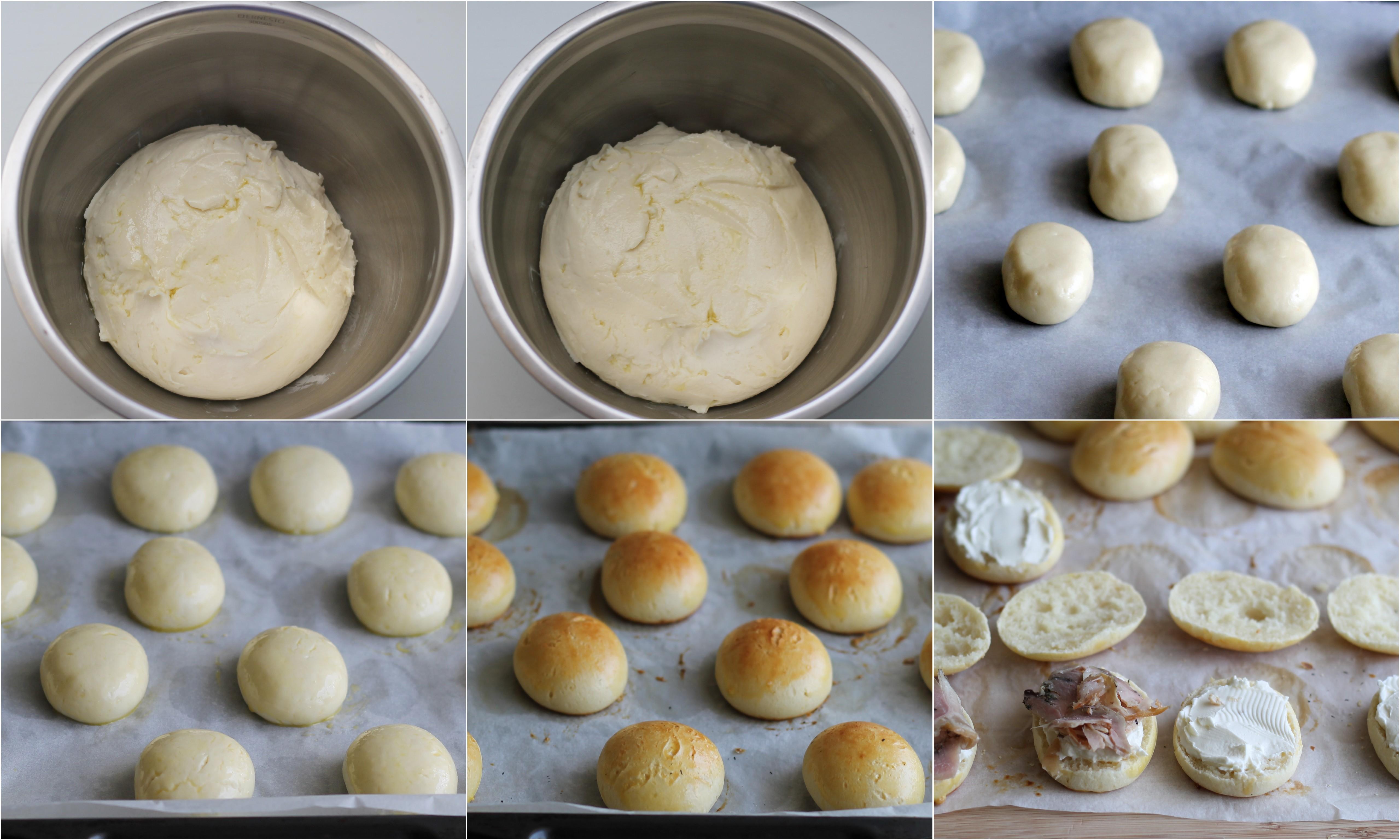 Versa il mix in ciotola, unisci lo zucchero e il latte tiepido nel quale avrai sciolto il lievito. Impasta molto bene finché non aotterrai una pasta liscia e collosa. Unisci il sale e il burro morbido a tocchetti ed impasta ancora molto affinché il burro venga incorporato. Ungi la ciotola e disponi lìimpasto al suo interno. Copri la ciotola con pellicola e lascia lievitare per circa 1,30/2 ore. Ungi la spianatoia con poco olio e sgonfia la pasta. Pesa 16 bocconcini di impasto di circa 30 grammi l'uno (se te ne rimane un pochino, dividilo per tutti i bocconcini). Lavora i pezzetti di impasto sulla spianatoia formando prima una pallina molto liscia che alllungherai leggermente. Disponi i panini ottenuti su di una placca da forno coperta da carta da forno, copri i panini con pellicola e con uno strofinaccio e lascia lievitare ancora per un'ora e mezza o due. Scalda il forno a 180°. Batti l'uovo e pennella la superficie dei panini. Cuoci per circa 15 minuti. Una volta tiepidi, puoi tagliare i panini e farcirli con formaggio e porchetta. Sulla parte superiore pratica due piccoli incisioni con la punta di un coltello e infilza due salinis (tagliane un piccolissima parte in modo da porterli infilzare bene). Ritaglia 32 piccole rondelline di formaggio (io ho usato la punta tonda di un beccuccio liscio di circa 1/2 cm) e incollale come fossero gli occhi usando pochissimo formaggio spalmabile come colla. Usando uno stuzzicadenti, forma il nero degli occhi con la pasta di olive. Infine ritaglia dei piccoli tondini di pomodori che incollerai a mò di naso.