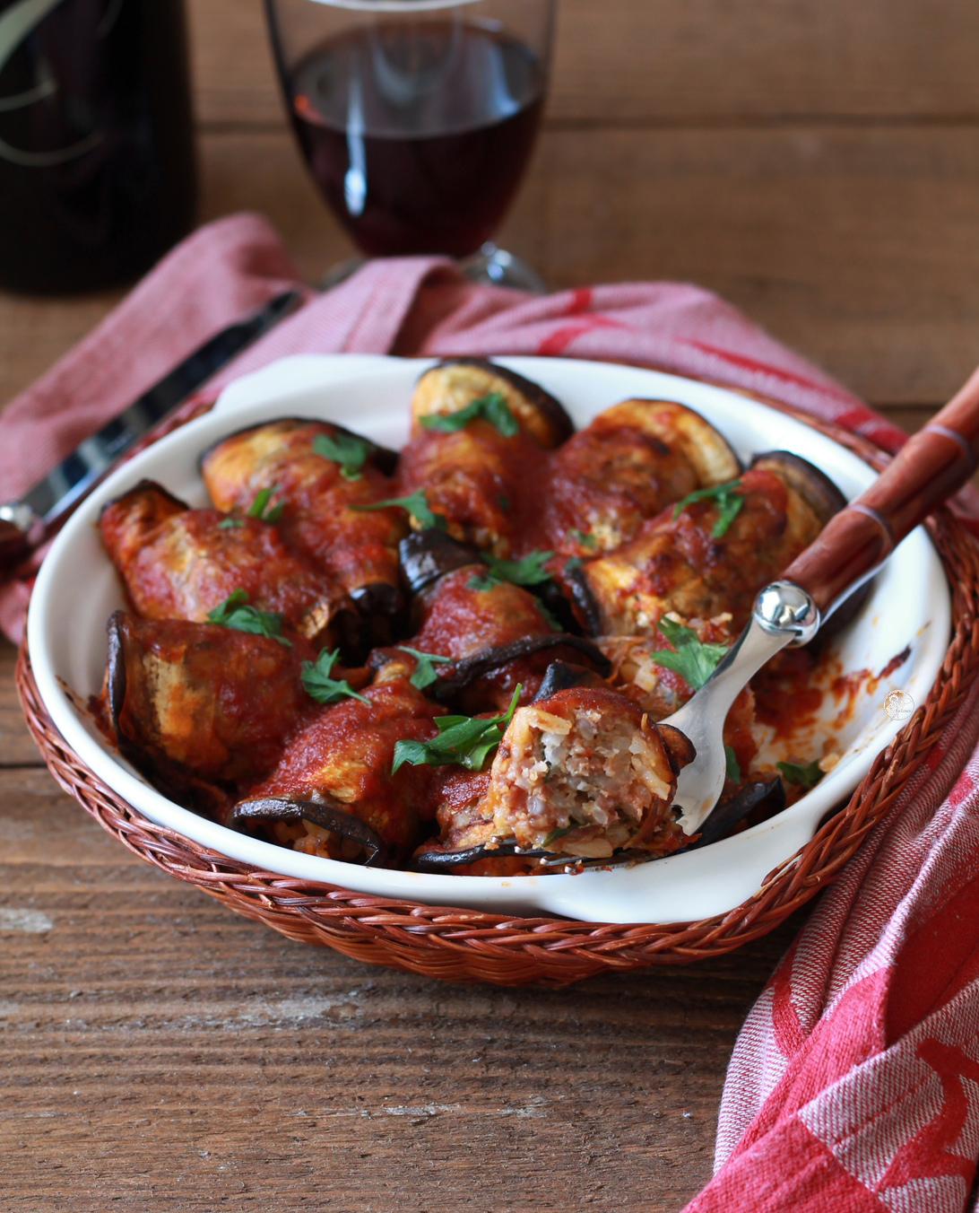 Roulades d'aubergine avec la viande - La Cassata Celiaca