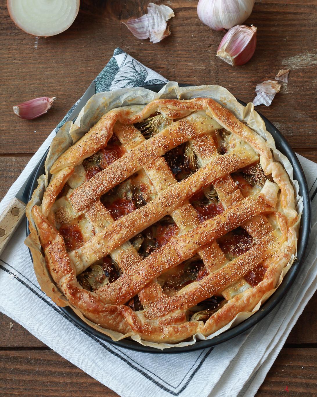 Crostata con carciofi e pancetta senza glutine - La Cassata Celiaca