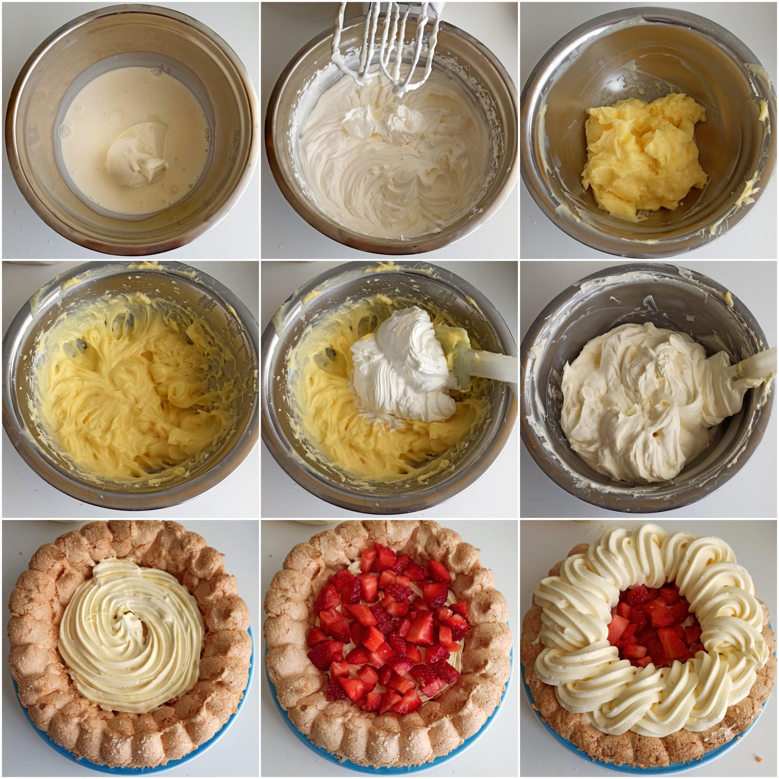 Dacquoise con crema e fragole senza glutine - La Cassata Celiaca