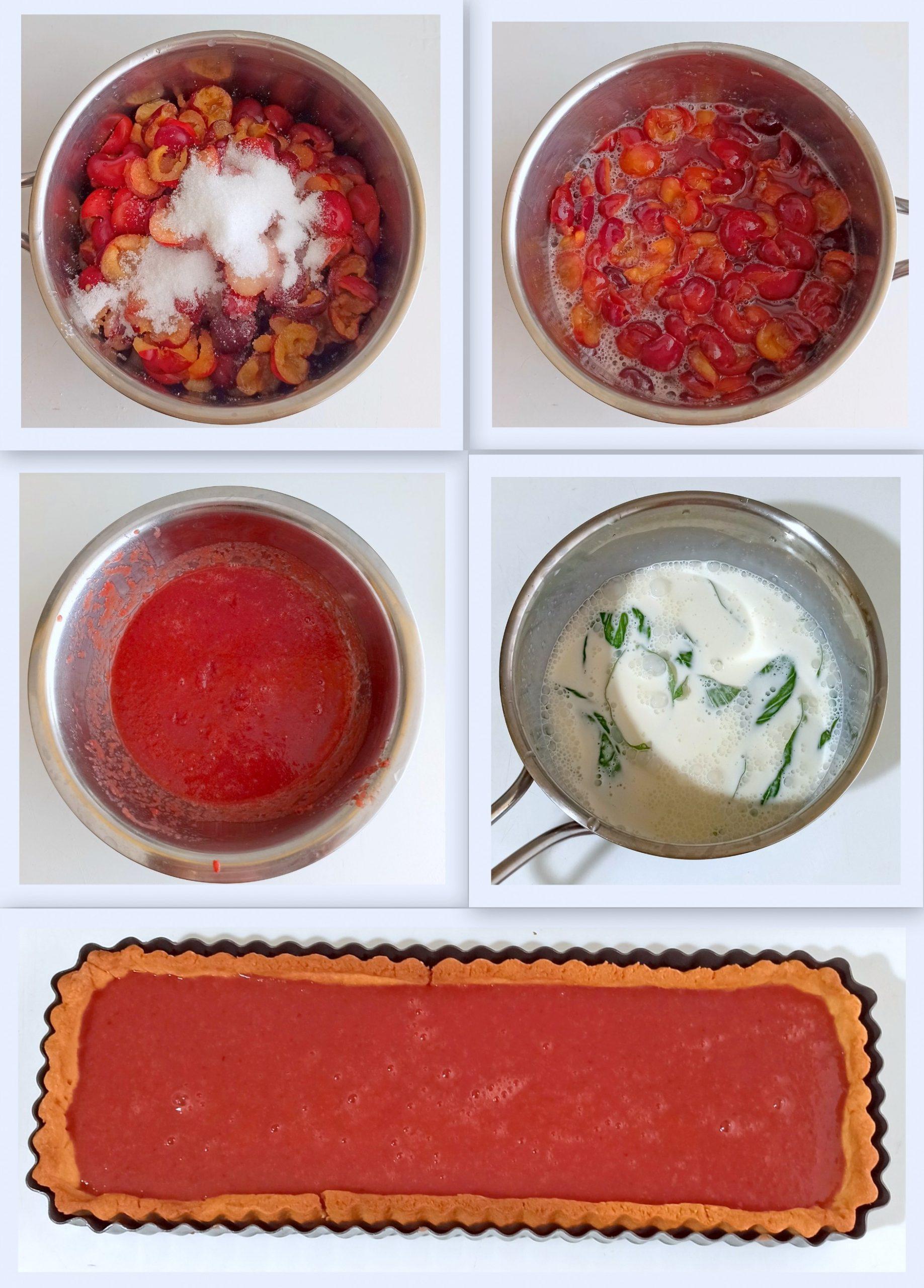 Tarte avec cerises et panna cotta sans gluten - La Cassata Celiaca
