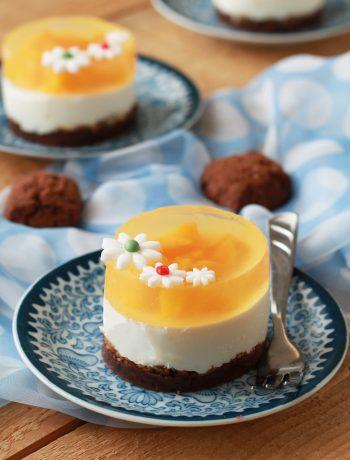 Mini cheesecake alla pesca gialla senza glutine - La Cassata Celiaca