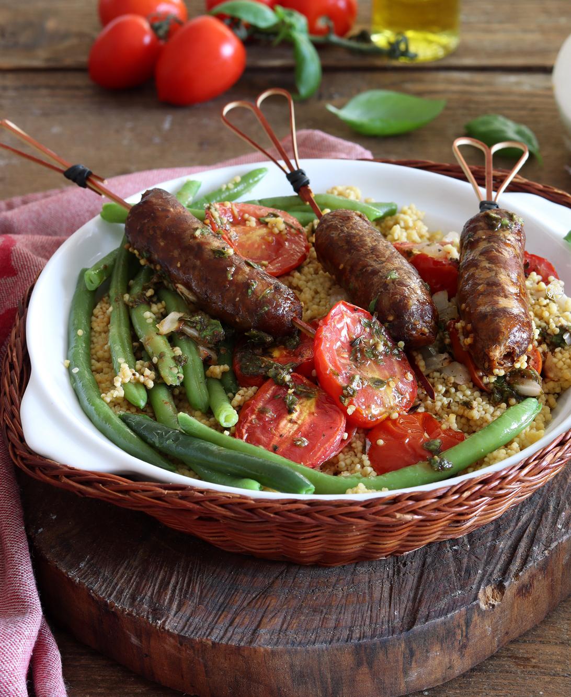 Couscous con fagiolini e merguez senza glutine - La Cassata Celiaca